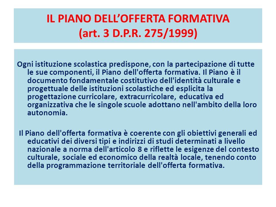 IL PIANO DELL'OFFERTA FORMATIVA (art. 3 D.P.R. 275/1999)