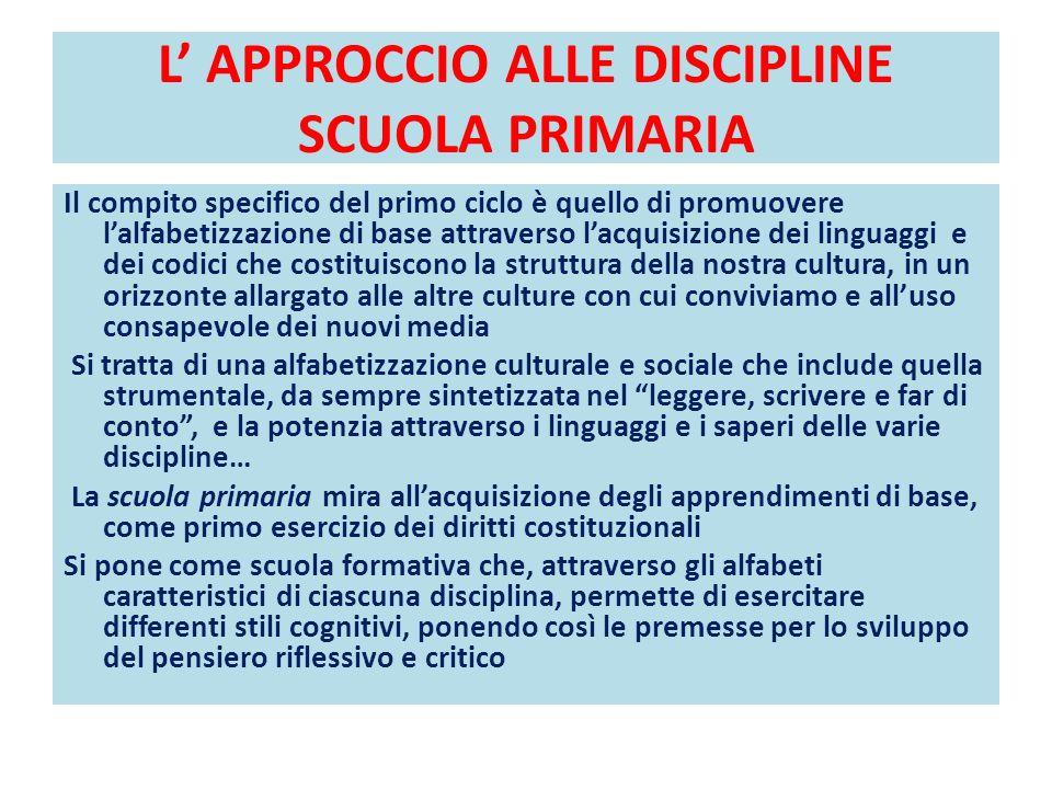 L' APPROCCIO ALLE DISCIPLINE SCUOLA PRIMARIA
