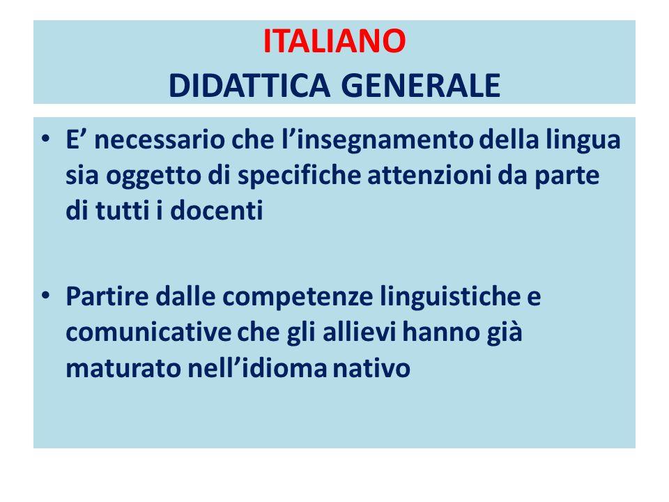 ITALIANO DIDATTICA GENERALE
