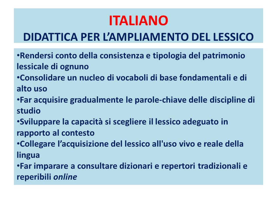 ITALIANO DIDATTICA PER L'AMPLIAMENTO DEL LESSICO