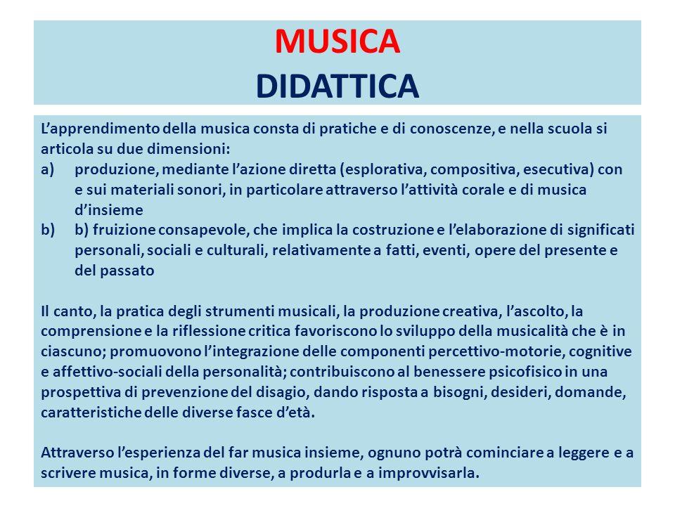MUSICA DIDATTICA L'apprendimento della musica consta di pratiche e di conoscenze, e nella scuola si articola su due dimensioni: