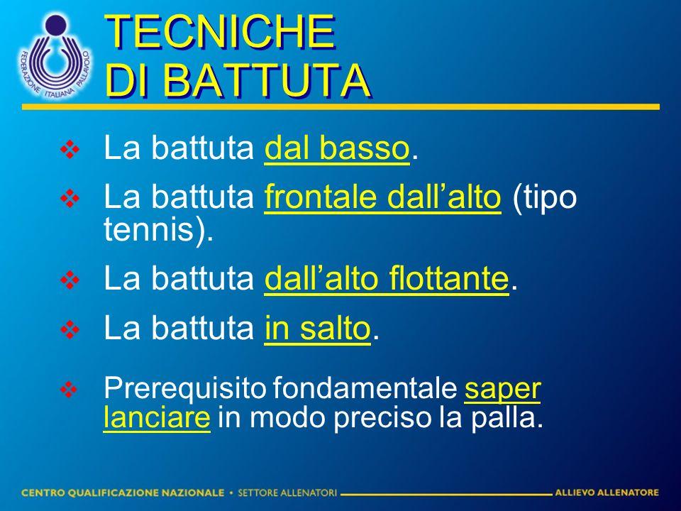 TECNICHE DI BATTUTA La battuta dal basso.