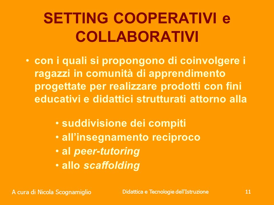 SETTING COOPERATIVI e COLLABORATIVI