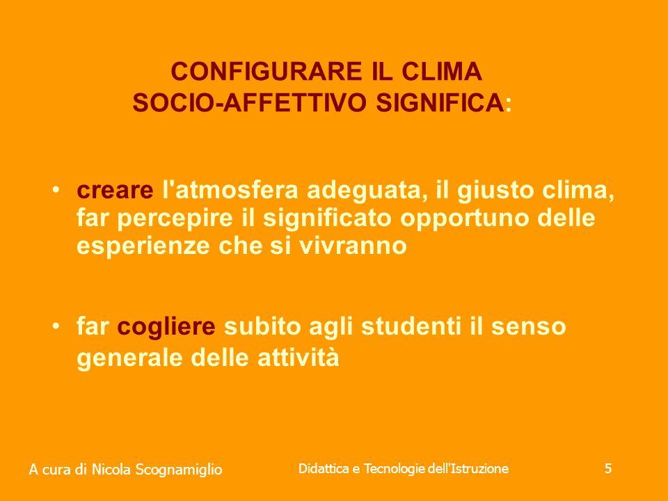 CONFIGURARE IL CLIMA SOCIO-AFFETTIVO SIGNIFICA: