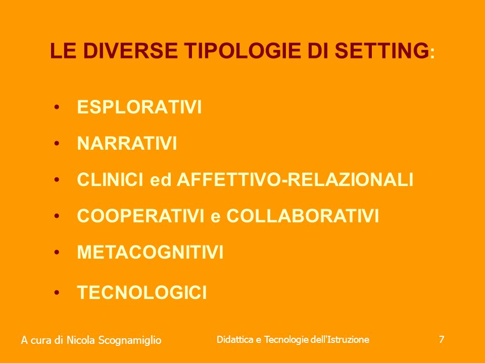 LE DIVERSE TIPOLOGIE DI SETTING: