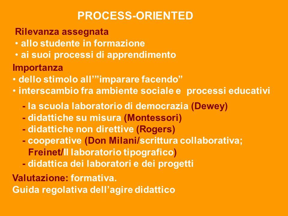 PROCESS-ORIENTED Rilevanza assegnata allo studente in formazione
