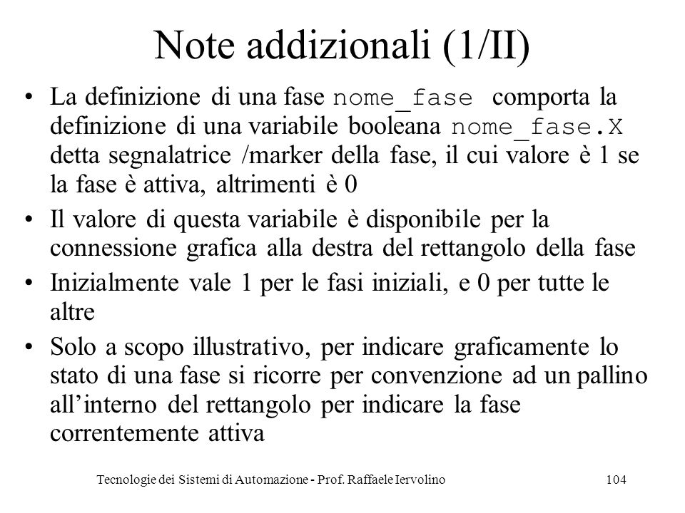 Note addizionali (1/II)