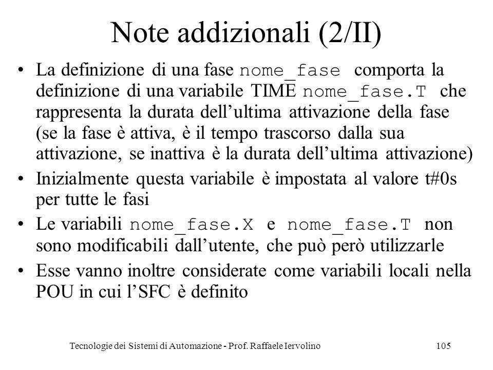 Note addizionali (2/II)