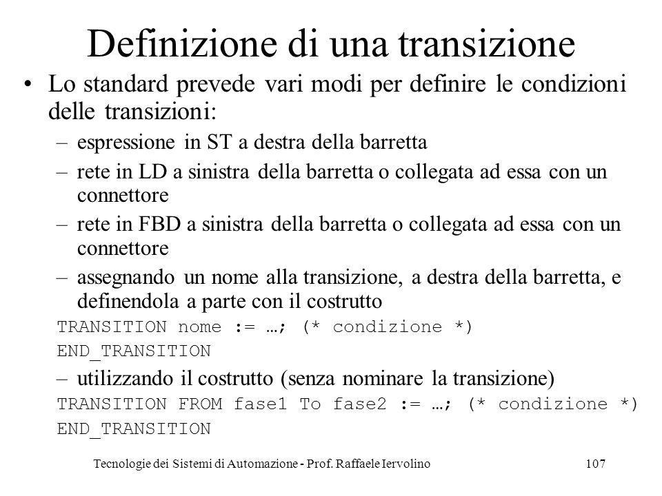 Definizione di una transizione