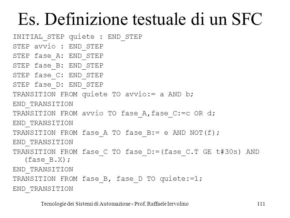 Es. Definizione testuale di un SFC