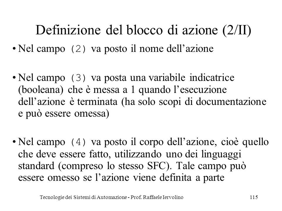 Definizione del blocco di azione (2/II)