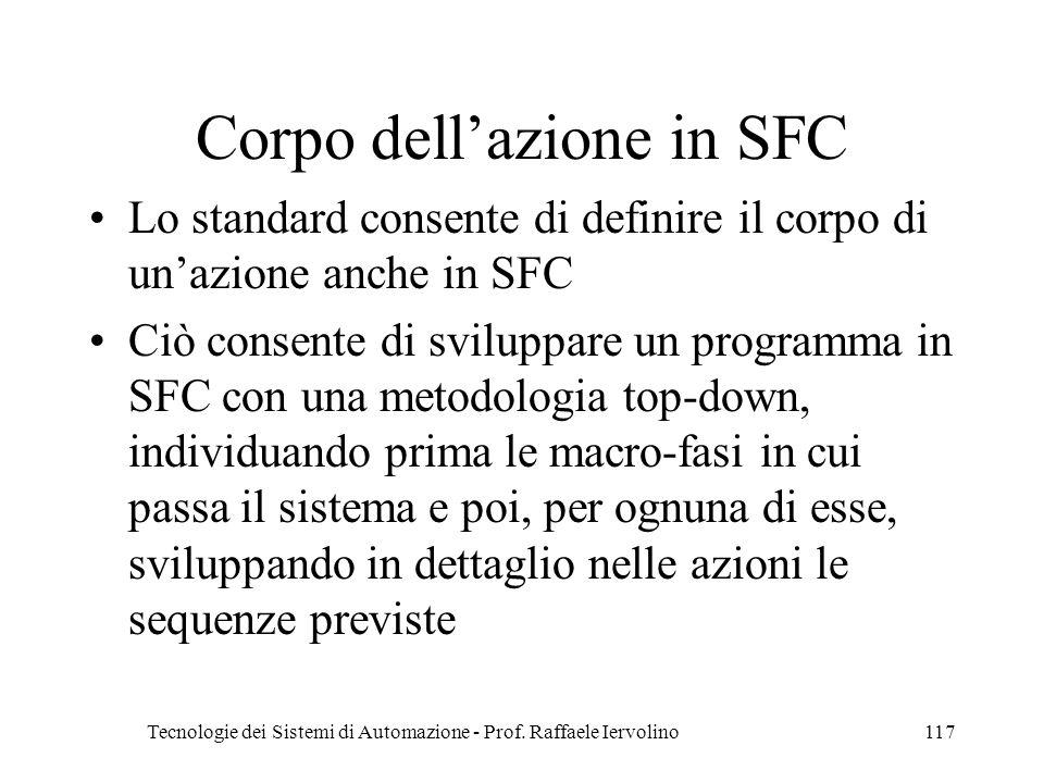 Corpo dell'azione in SFC