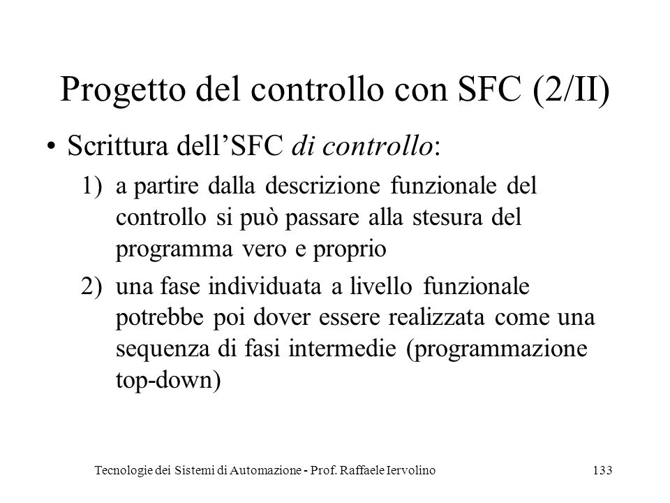 Progetto del controllo con SFC (2/II)