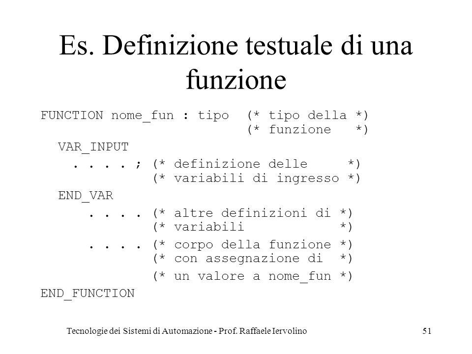 Es. Definizione testuale di una funzione