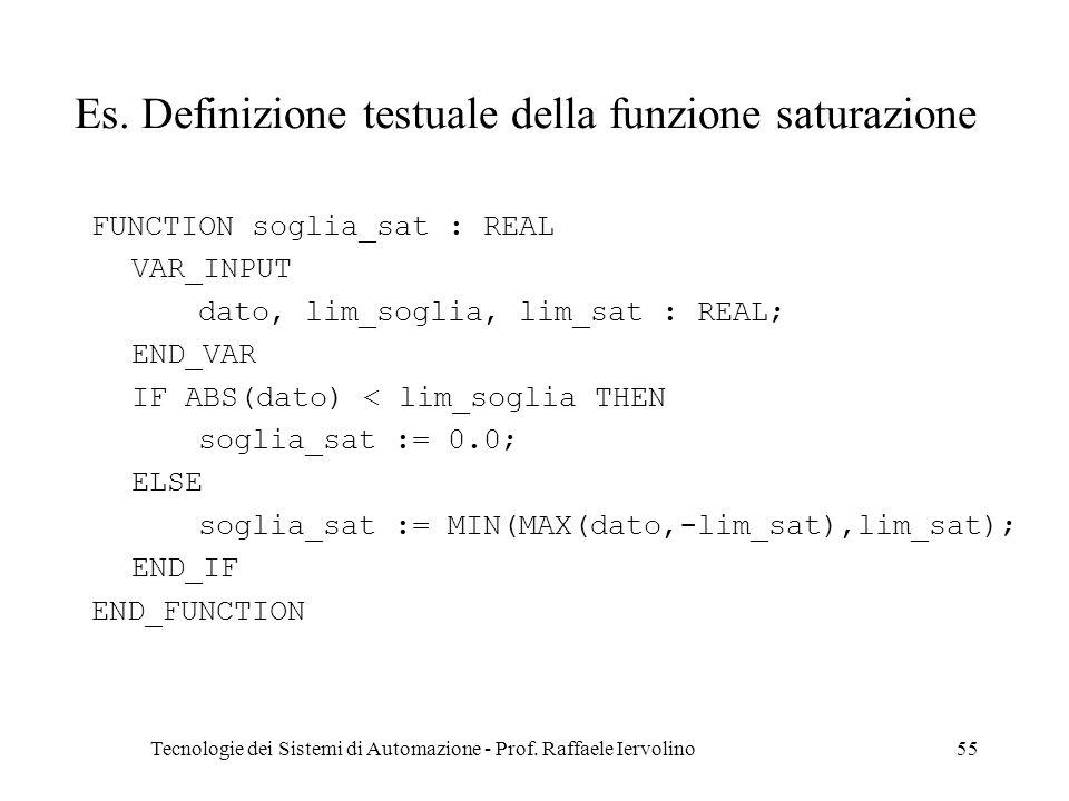 Es. Definizione testuale della funzione saturazione
