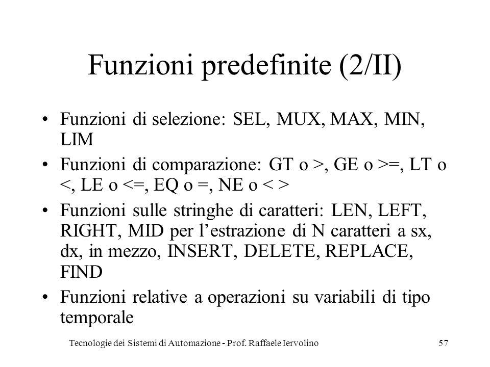 Funzioni predefinite (2/II)