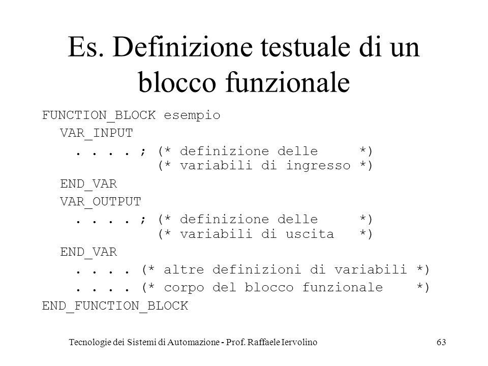 Es. Definizione testuale di un blocco funzionale