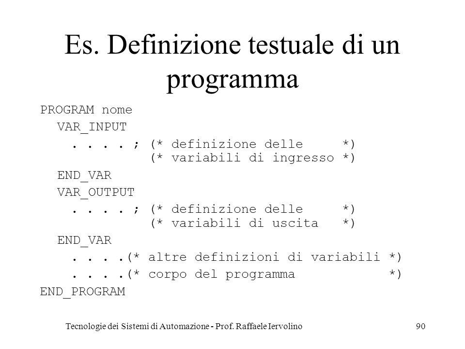 Es. Definizione testuale di un programma