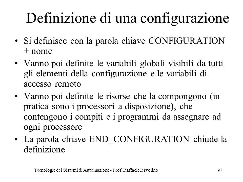 Definizione di una configurazione