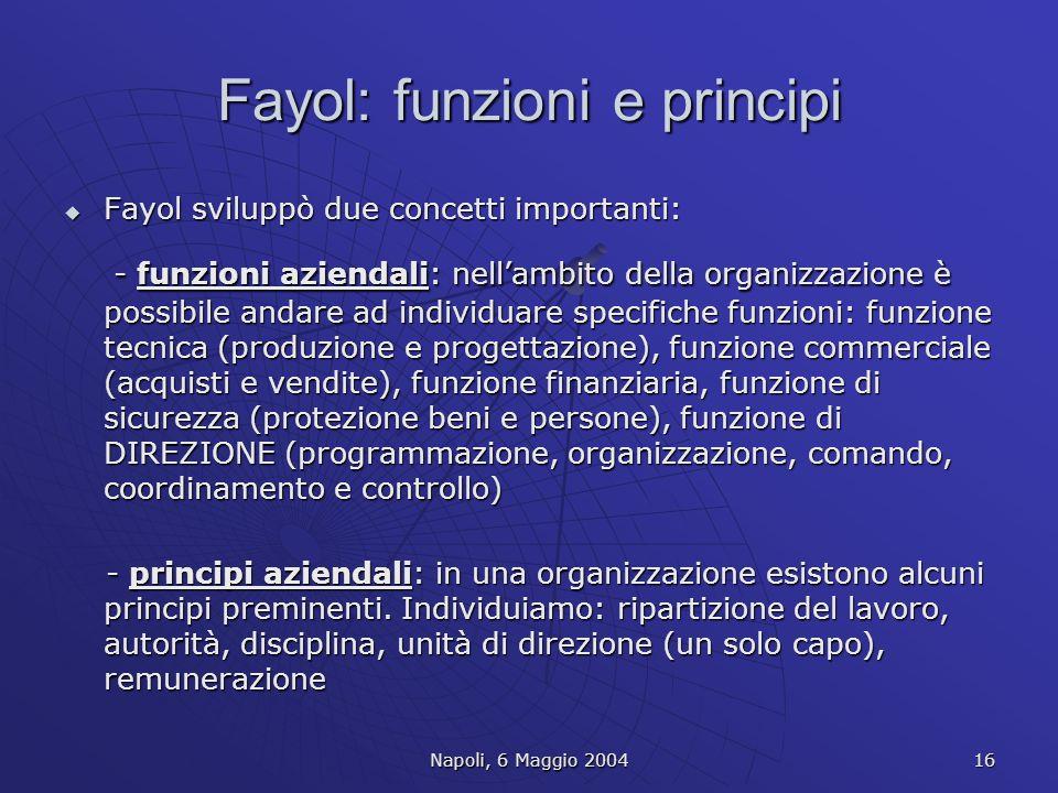 Fayol: funzioni e principi