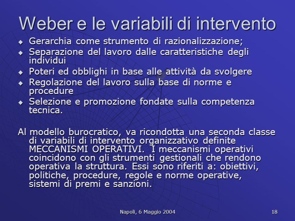 Weber e le variabili di intervento