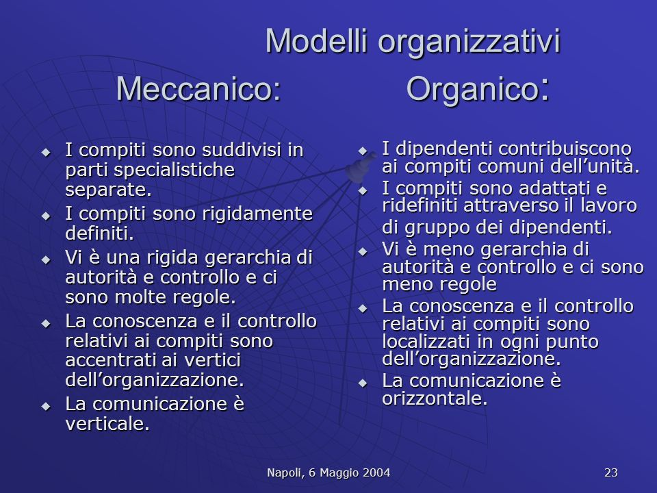 Modelli organizzativi Meccanico: Organico: