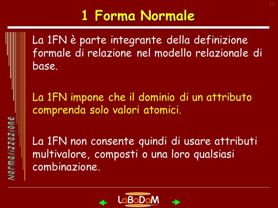 1 Forma Normale La 1FN è parte integrante della definizione formale di relazione nel modello relazionale di base.