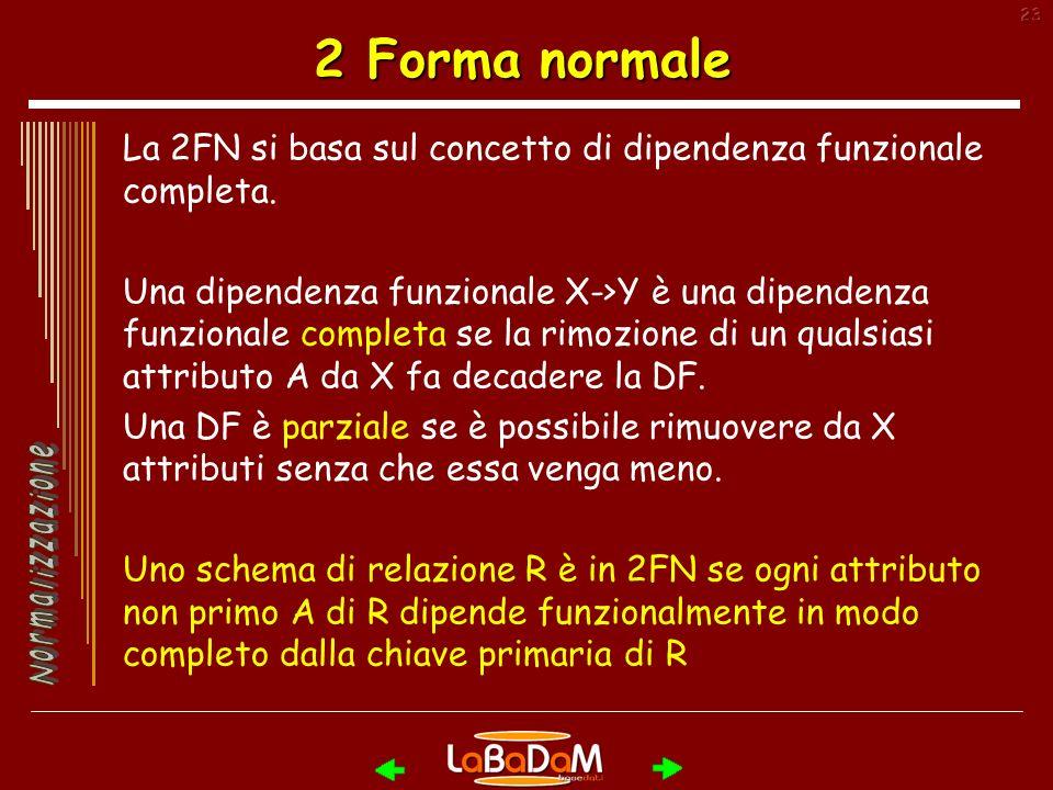 2 Forma normale La 2FN si basa sul concetto di dipendenza funzionale completa.