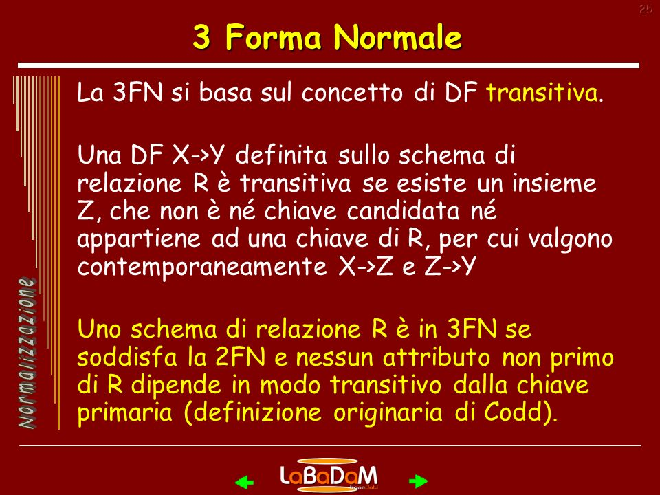 3 Forma Normale La 3FN si basa sul concetto di DF transitiva.
