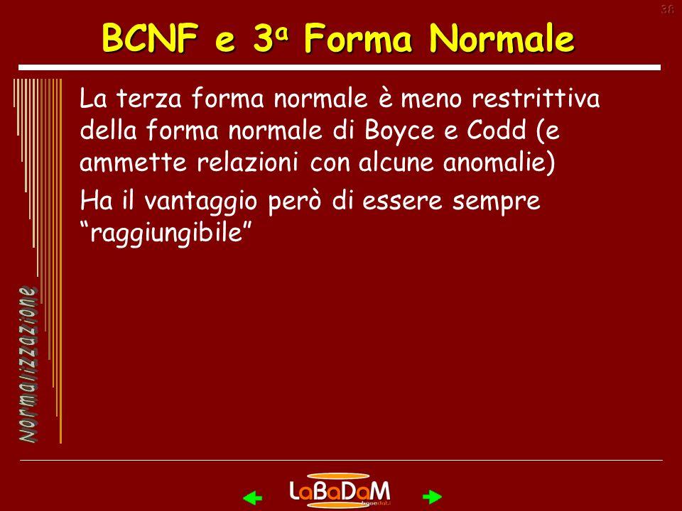 BCNF e 3a Forma Normale La terza forma normale è meno restrittiva della forma normale di Boyce e Codd (e ammette relazioni con alcune anomalie)