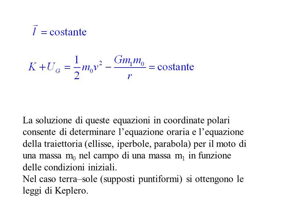 La soluzione di queste equazioni in coordinate polari consente di determinare l'equazione oraria e l'equazione della traiettoria (ellisse, iperbole, parabola) per il moto di una massa m0 nel campo di una massa m1 in funzione delle condizioni iniziali.