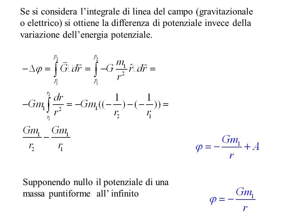 Se si considera l'integrale di linea del campo (gravitazionale