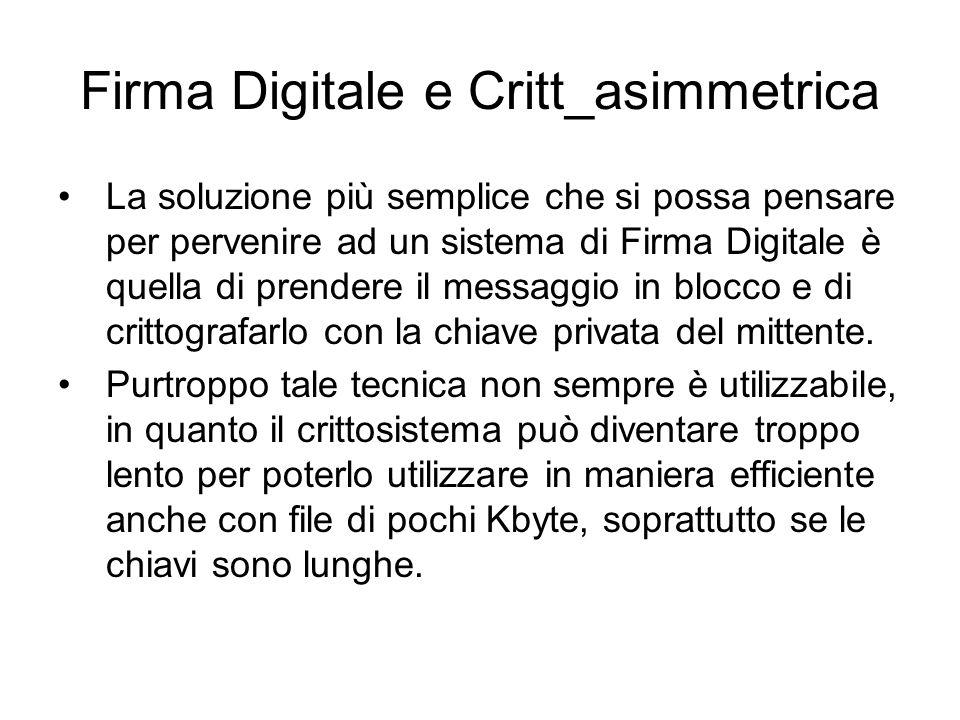 Firma Digitale e Critt_asimmetrica