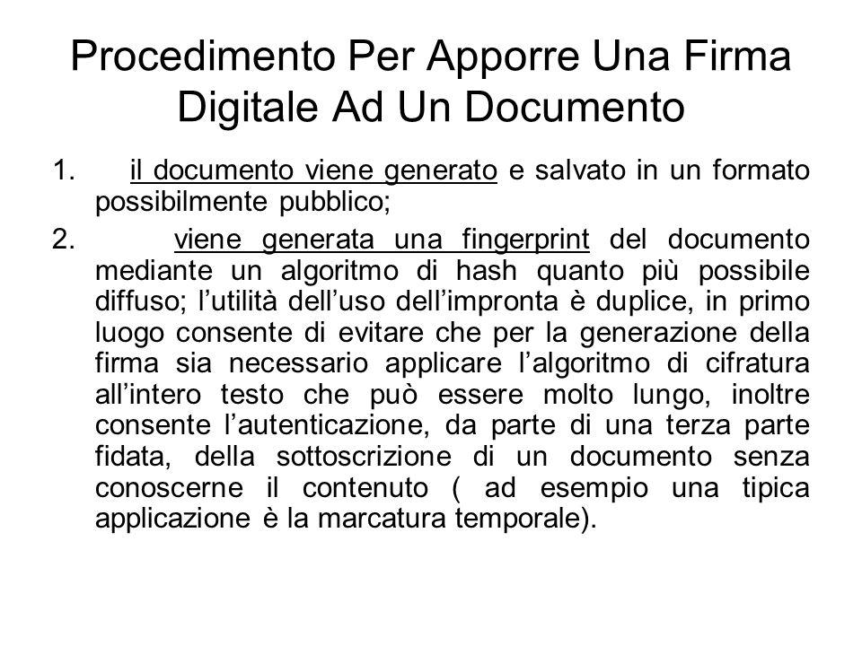 Procedimento Per Apporre Una Firma Digitale Ad Un Documento