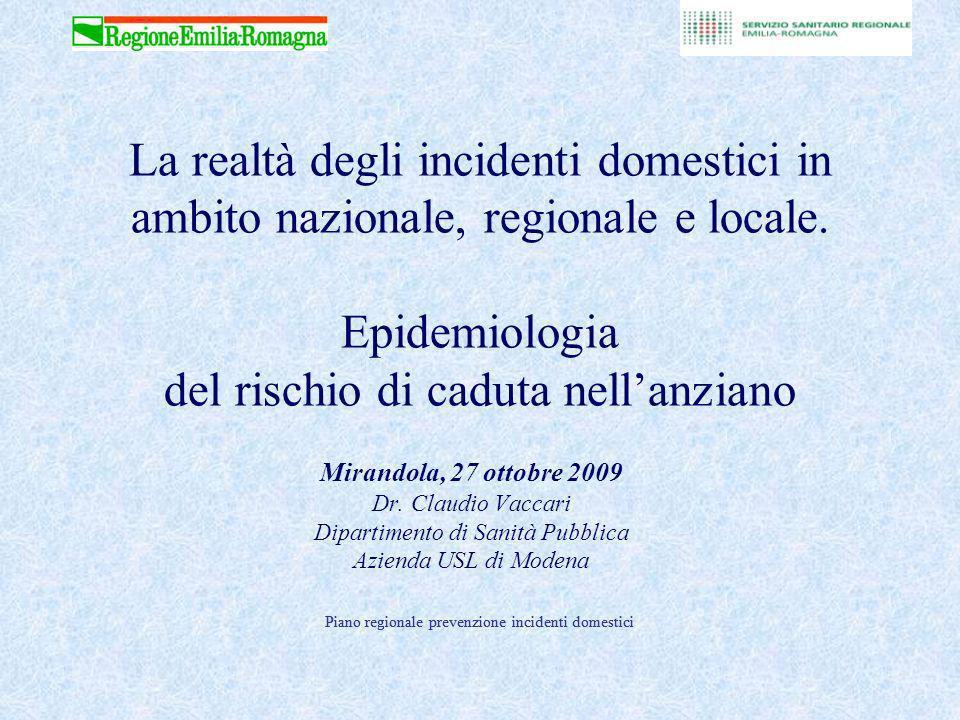 La realtà degli incidenti domestici in ambito nazionale, regionale e locale. Epidemiologia del rischio di caduta nell'anziano