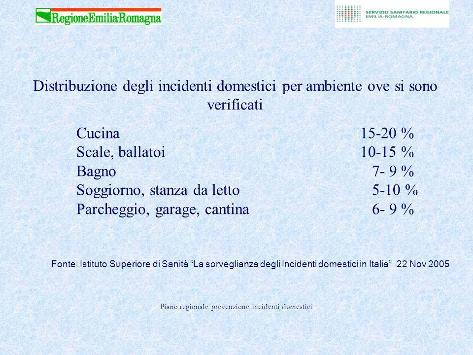 Distribuzione degli incidenti domestici per ambiente ove si sono verificati