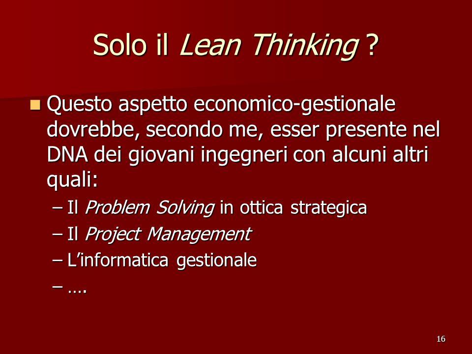 Solo il Lean Thinking