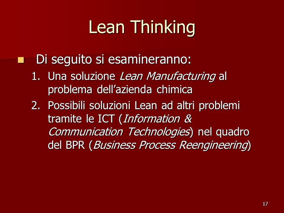 Lean Thinking Di seguito si esamineranno: