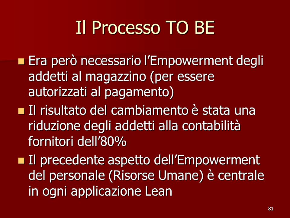 Il Processo TO BE Era però necessario l'Empowerment degli addetti al magazzino (per essere autorizzati al pagamento)