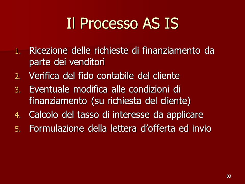 Il Processo AS IS Ricezione delle richieste di finanziamento da parte dei venditori. Verifica del fido contabile del cliente.