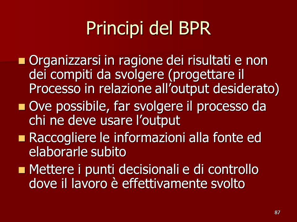 Principi del BPR Organizzarsi in ragione dei risultati e non dei compiti da svolgere (progettare il Processo in relazione all'output desiderato)