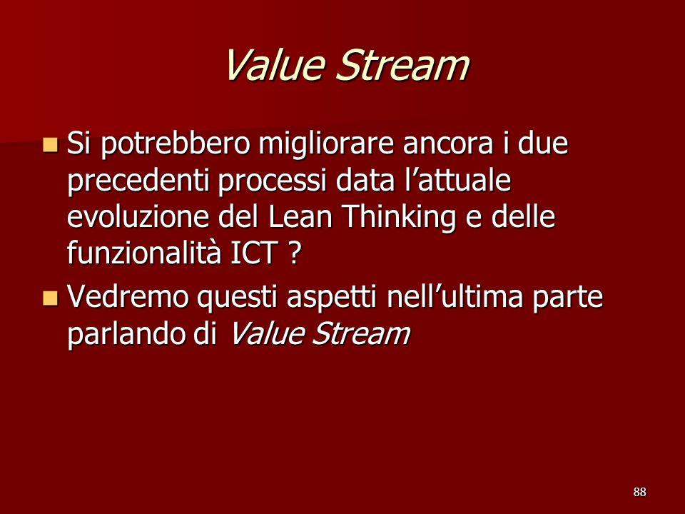 Value Stream Si potrebbero migliorare ancora i due precedenti processi data l'attuale evoluzione del Lean Thinking e delle funzionalità ICT