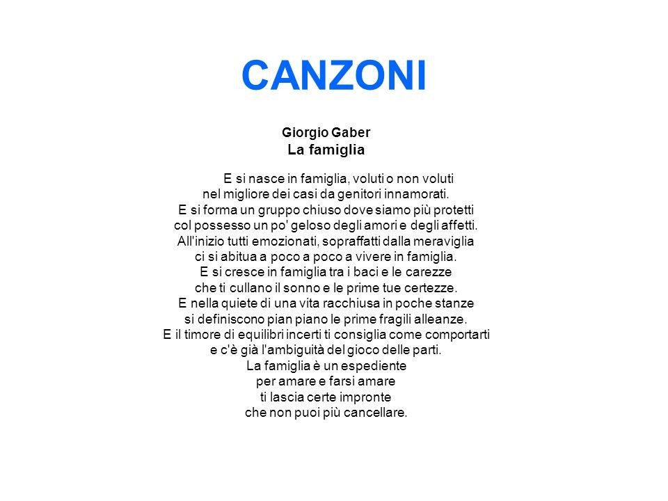 CANZONI La famiglia Giorgio Gaber