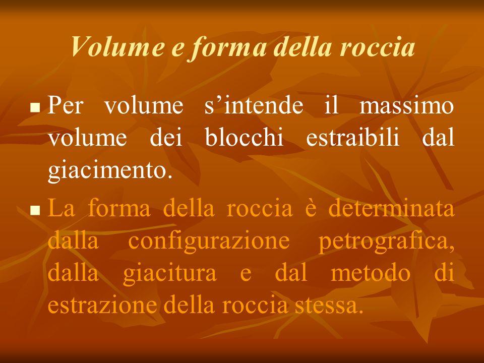 Volume e forma della roccia