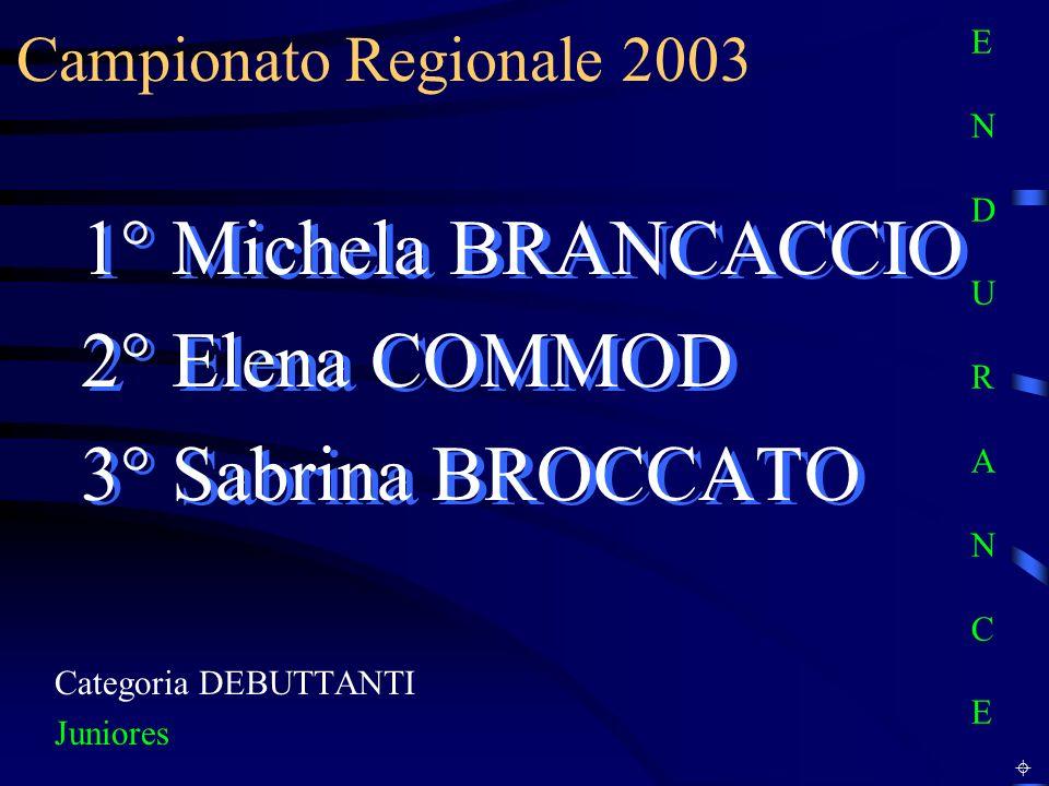 1° Michela BRANCACCIO 2° Elena COMMOD 3° Sabrina BROCCATO