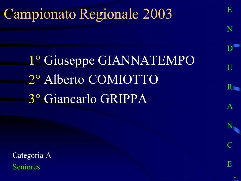 Campionato Regionale 2003 1° Giuseppe GIANNATEMPO 2° Alberto COMIOTTO