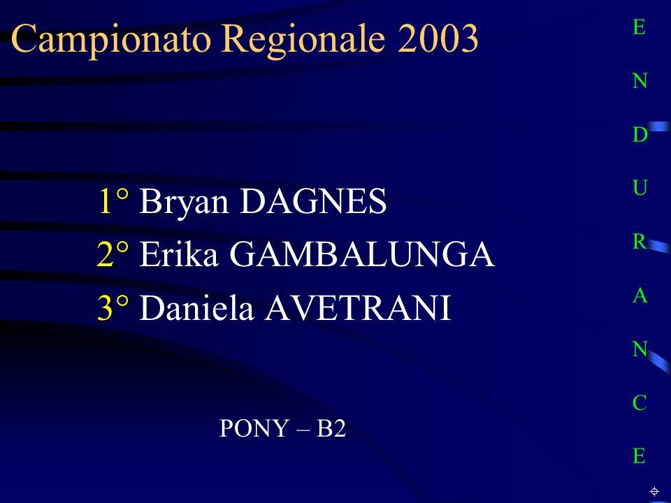 Campionato Regionale 2003 1° Bryan DAGNES 2° Erika GAMBALUNGA