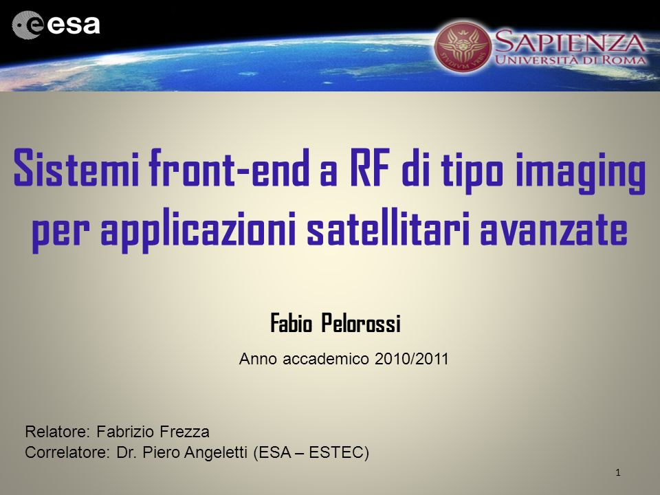 Sistemi front-end a RF di tipo imaging per applicazioni satellitari avanzate