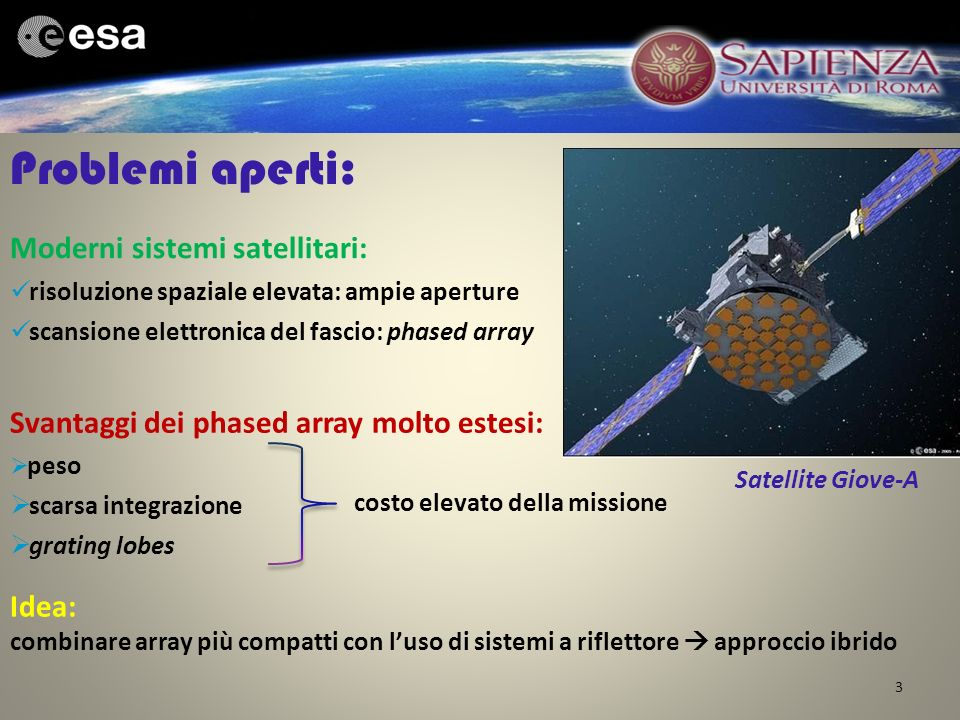 Problemi aperti: Moderni sistemi satellitari: