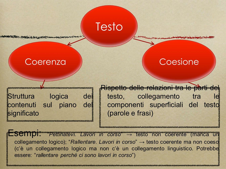 Testo Coesione. Coerenza. Struttura logica dei contenuti sul piano del significato.